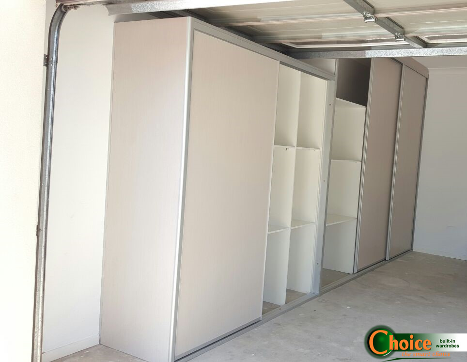Custom Garage fit out under garage door, with cream paneled